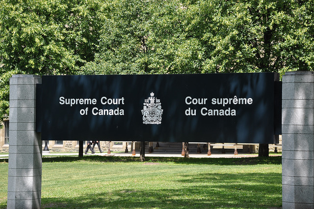 Signage outside the Supreme Court, Canada