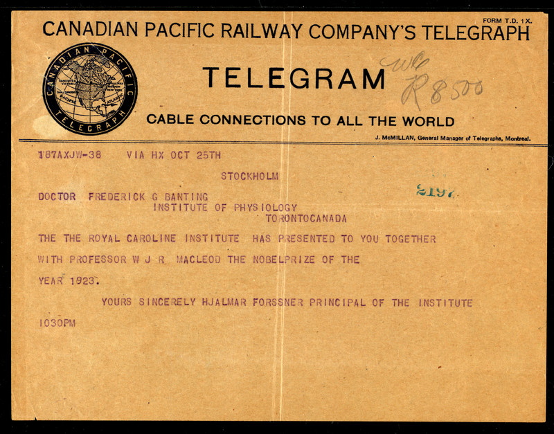 Telegram informing Frederick Banting and J. J. R. Macleod that they have won the Nobel Prize for the year 1923