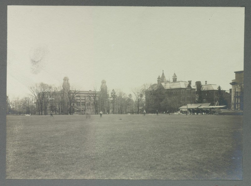 View of the School of Practical Science from Front Campus Field, ca. 1905