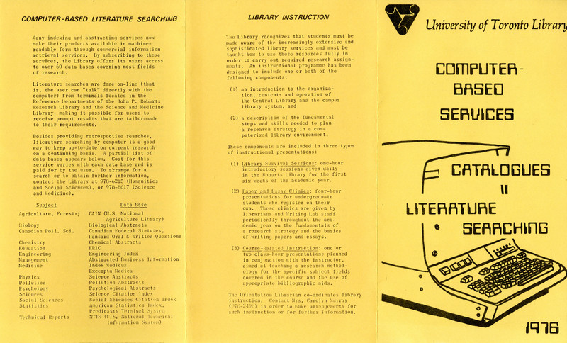 Pamphlet on computer-based services at the University of Toronto Library in 1976