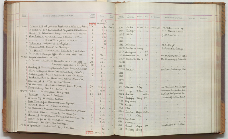 The library's accession register of new books, displaying books which were presented (given) to the library following the fire of 1890