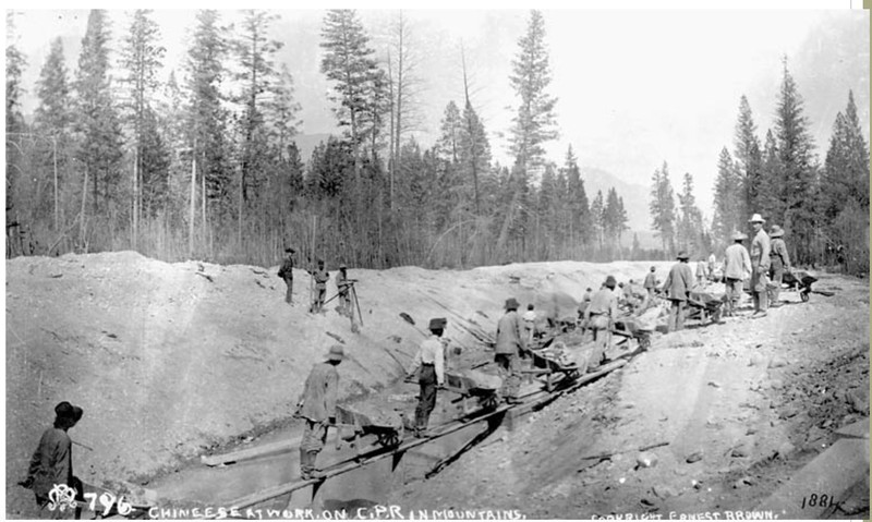Chinese at work on C.P.R. (Canadian Pacific Railway) in Mountains, 1884