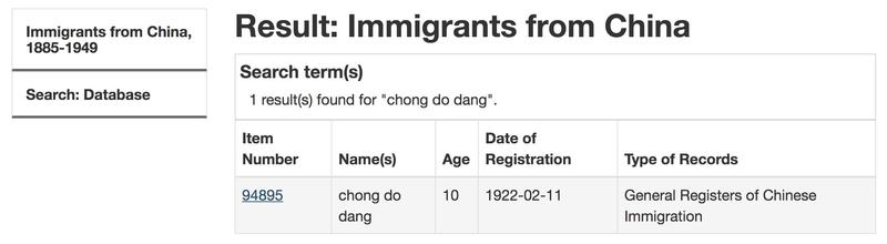 Chinese Migrant Database search result: Chong Do Dang