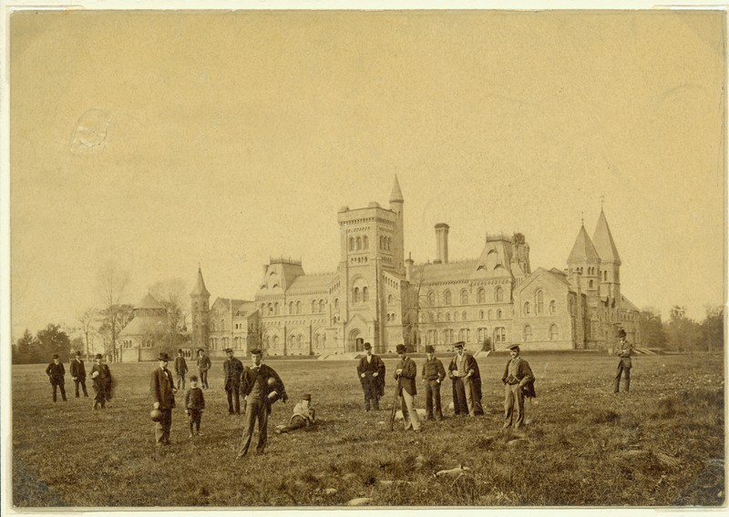 Students on the front campus, ca. 1880.