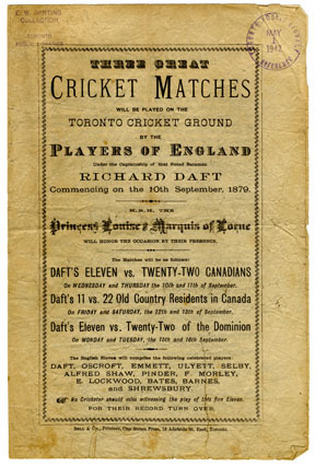 Program for 3 matches played at the Toronto Cricket Grounds in 1879