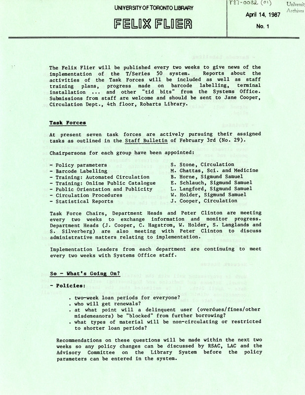 Staff newsletter providing updates about the implementation of the new FELIX Public Access Catalogue, 1987
