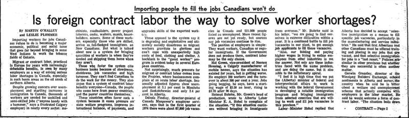 """Importing people to fill the jobs Canadians won't do."" (newspaper article)"