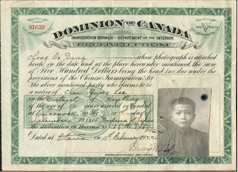Head tax certificate for Chong Do Dang.