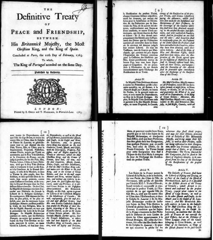 """""""The Definitive Treaty of Peace and Friendship between His Britannick Majesty, the Most Christian King, and the King of Spain: concluded at Paris, the 10th day of February, 1763; to which the King of Portugal acceded on the same day"""""""