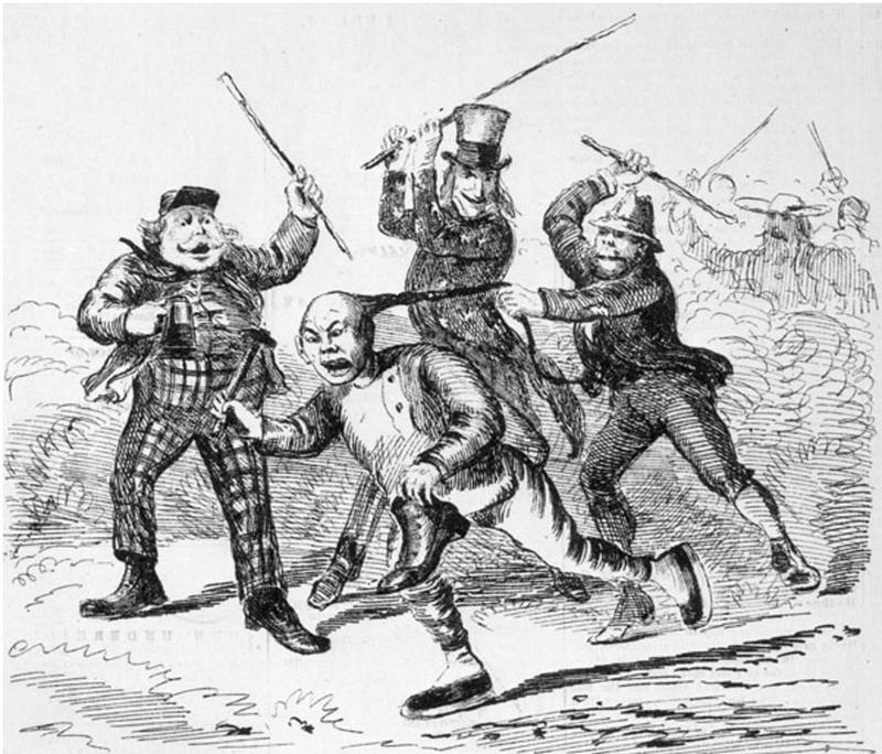 """""Free Labour in the United States"" (Cartoon from <em>Canadian Illustrated News</em>, 1870)"