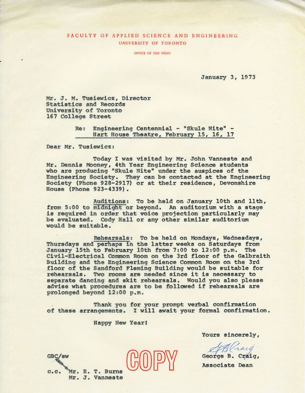 Letter to Mr. J. M. Tusiewicz, Director of Statistics and Records from G. B. Craig, Associate Dean of the Faculty of Applied Science and Engineering, UofT