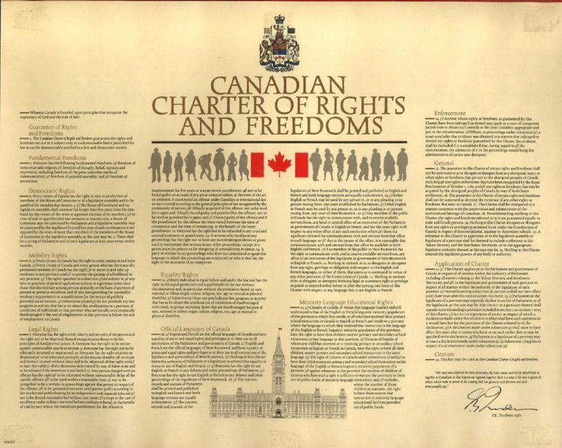Image of the Canadian Charter of Rights and Freedoms