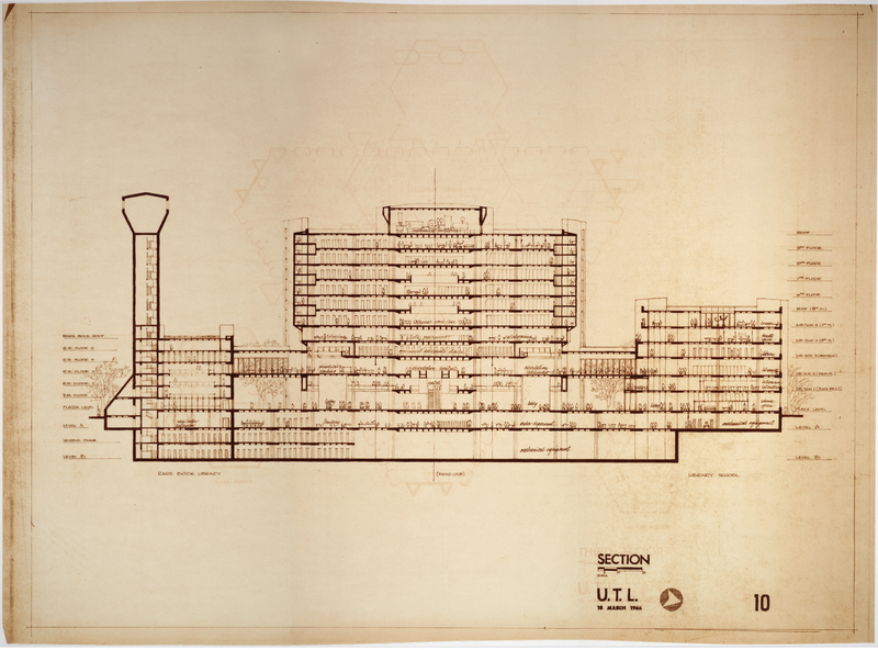 Early architectural drawing from March 1966 of the future Humanities and Social Science Research Library.