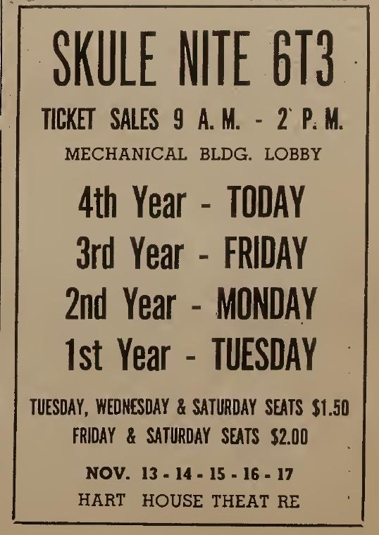 Skule Nite 6T3 Ticket Sales Ad