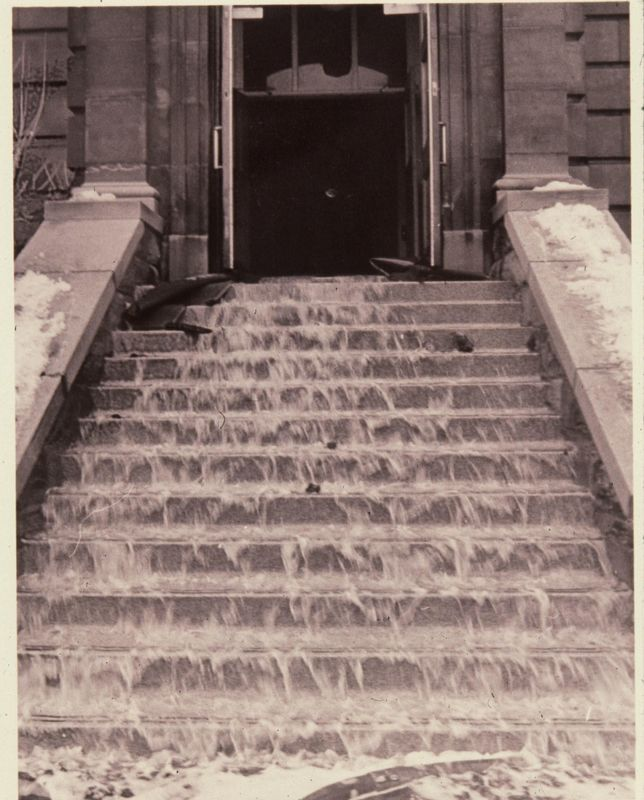 Water on stairs (exterior)