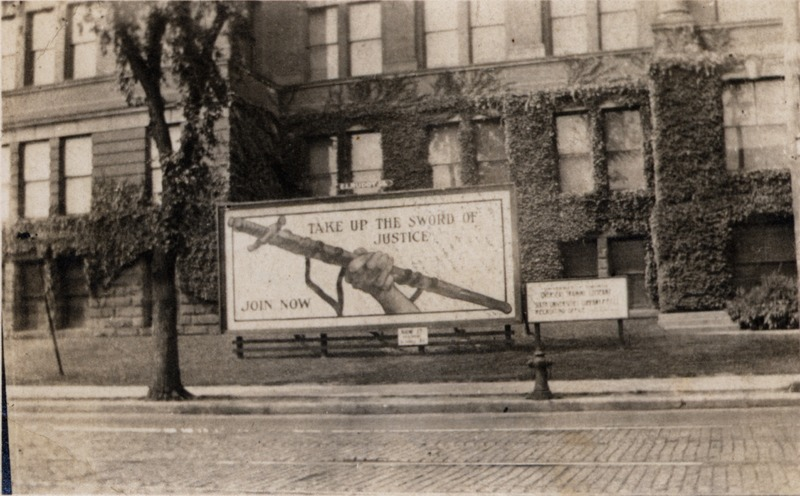 World War I Recruitment poster on College Street in front of the Mining Building<br />