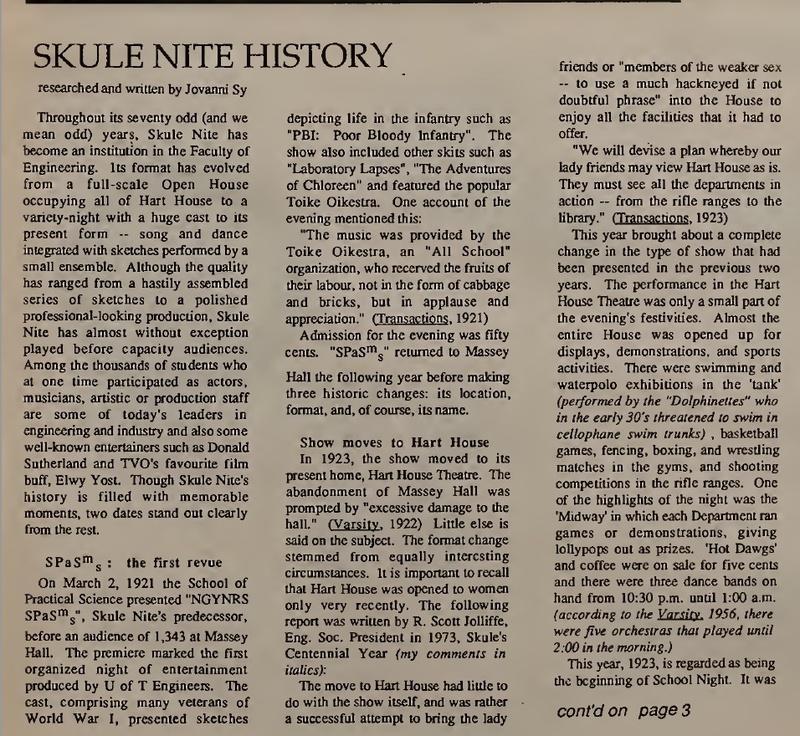 Skule Nite History