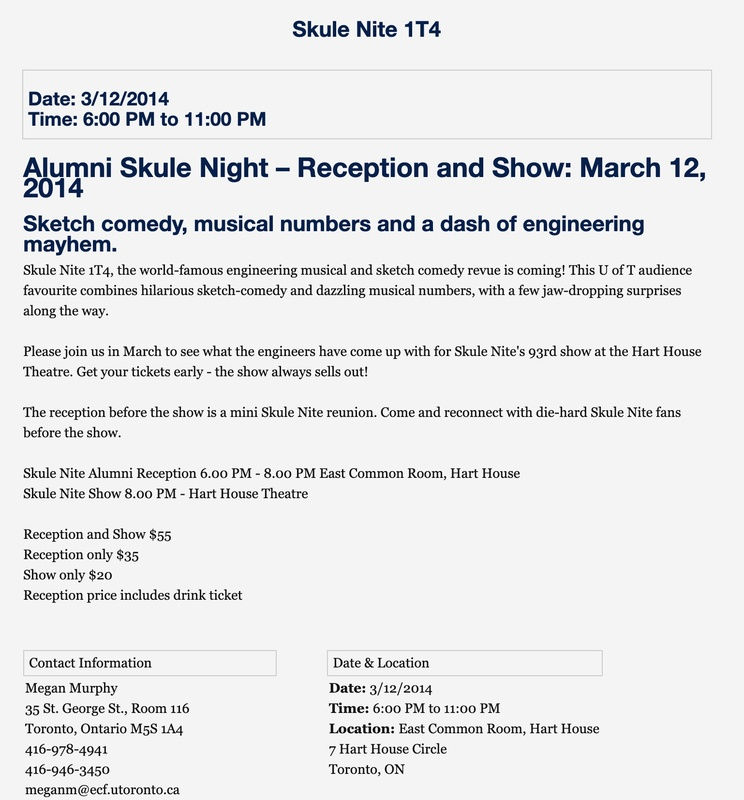 Skule Nite 1T4 Ticket Sales my.alumni.utoronto.ca<br />