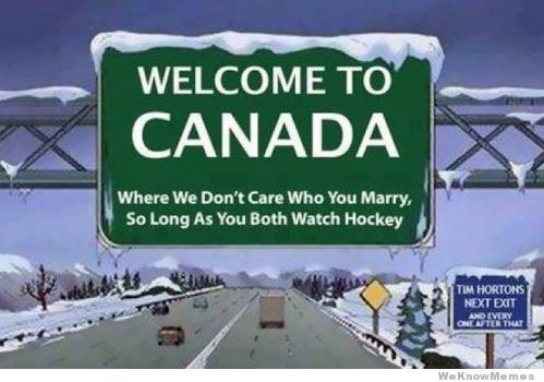 """Welcome to Canada"" cartoon"