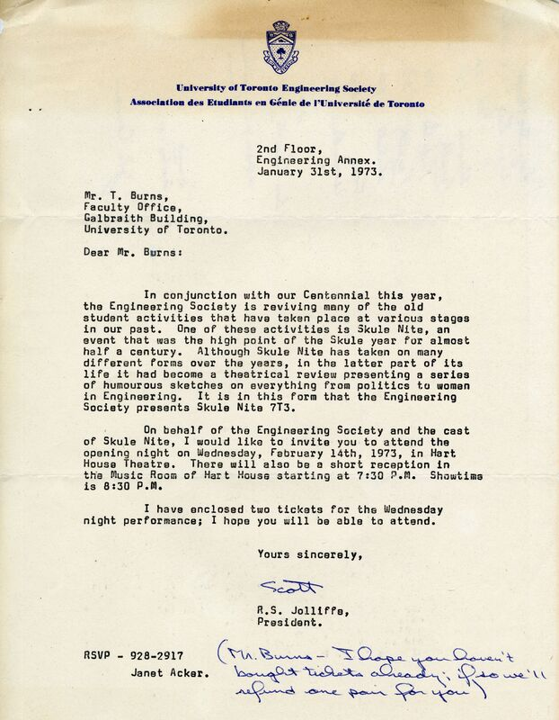 Letter to Mr. T. Burns from R.S. Jolliffe, president Engineering Society