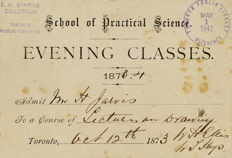 Ticket for an Evening Class at the School of Practical Science, 1873