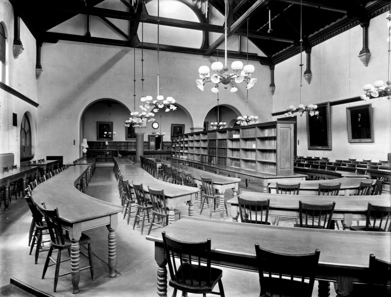 Interior view of the library reading room in the 1900s, before the addition of 1912.