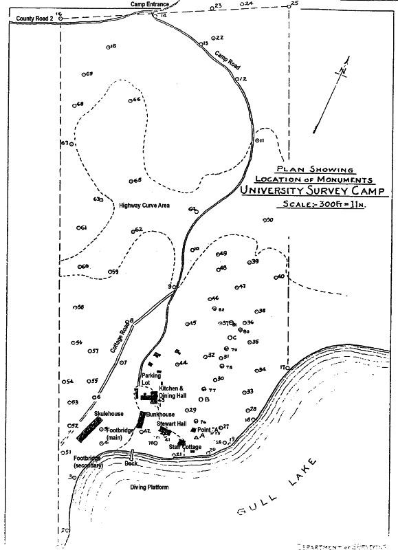 Camp Map, Gull Lake Survey Camp
