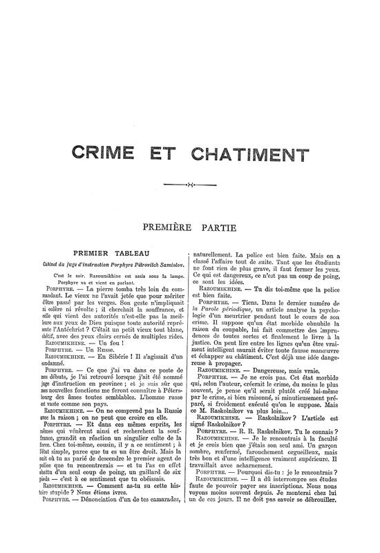 Crime et chatiment; vingt tableaux adaptés et mis en scène dʹaprès F.M. Dostoiewsky