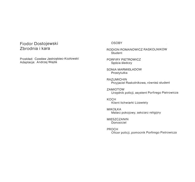 Dostojewski--teatr sumienia : Biesy, Nastazja Filipowna, Zbrodnja i kara