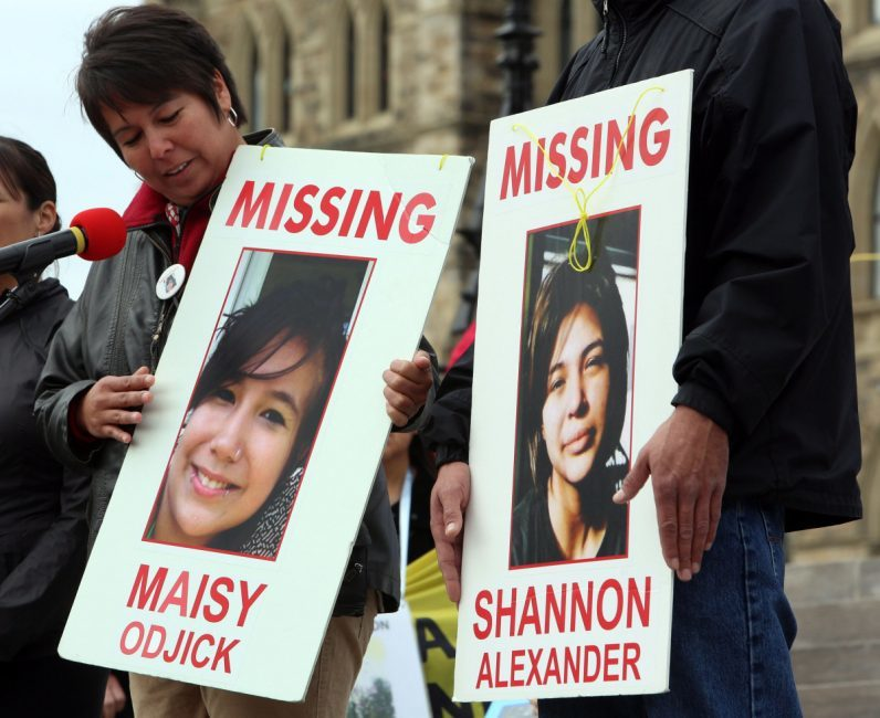 A rally for missing and murdered Aboriginal women taking place on Parliament Hill