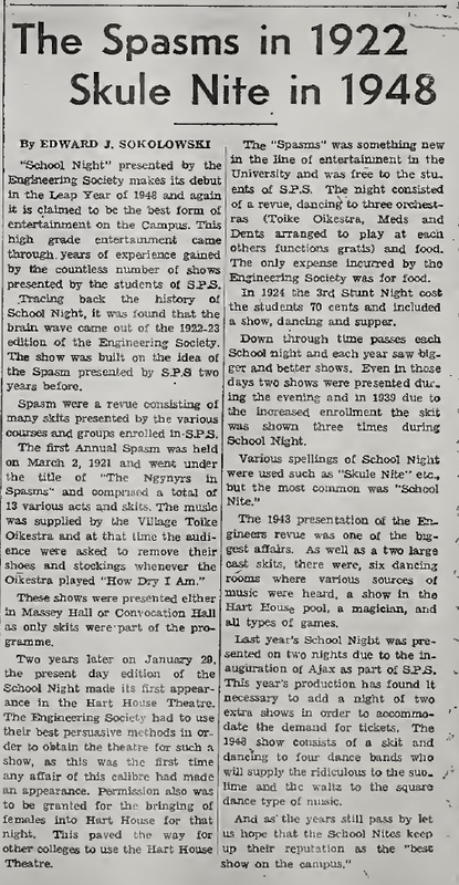 """""""The Spasms in 1922 Skule Nite in 1948"""""""