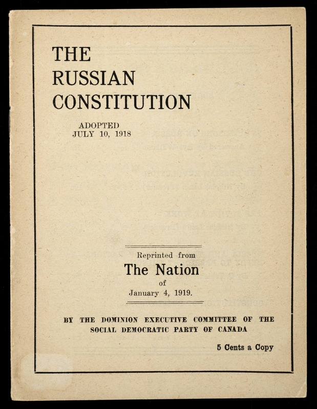 The Russian Constitution, adopted on 10 July 1918