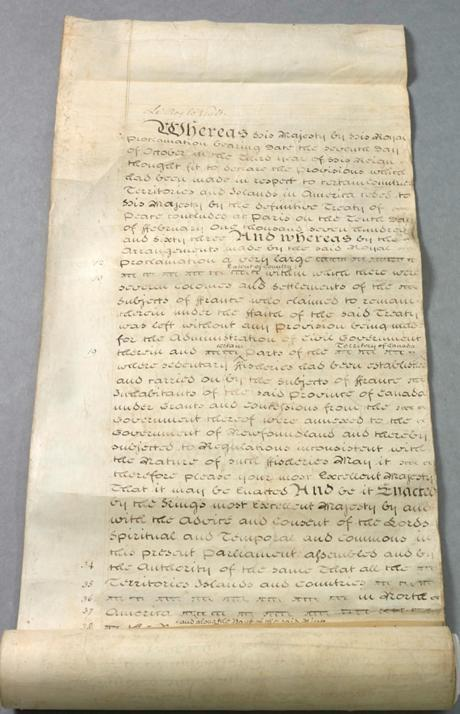 Quebec Act, 1774: An Act for making more effectual Provision for the Government of the Province of Quebec in North America (photo)