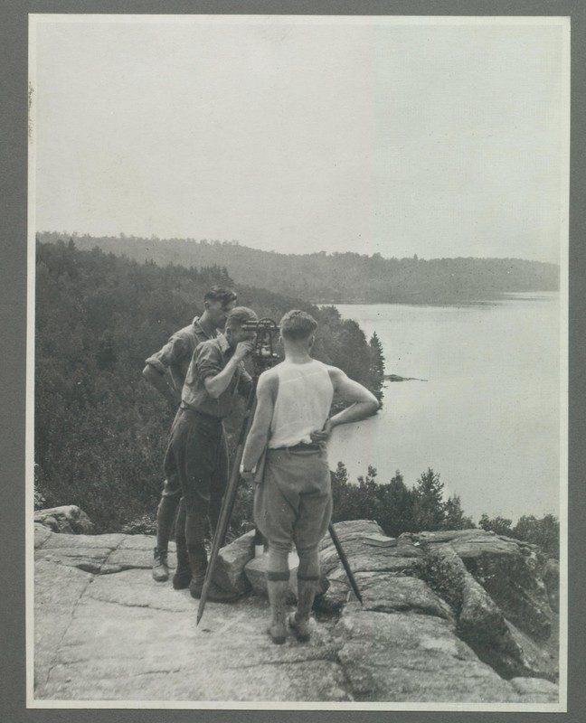Students Using Survey Equipment At Gull Lake Surveying Camp<br />