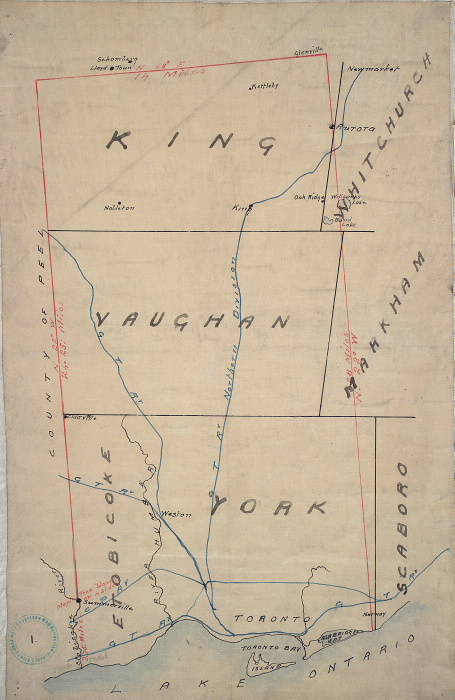 Original plan of the Toronto Purchase from the Indians, 1787-1805.