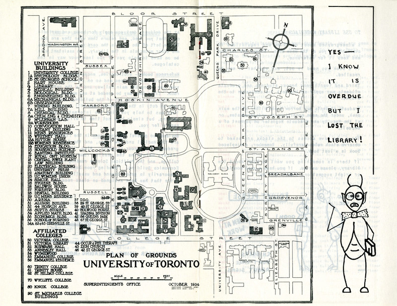<p>University of Toronto Library <i>Guide-Book for Students</i>, circa 1948, featuring a map of the University of Toronto campus</p>