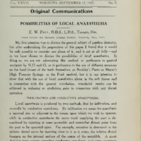 Possibilities of local anaesthesia