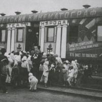 Literaturno-instruktorskii poezd im. V. I . Lenina # 1. Vagon Sovetskii kinematograf s rospisyu neizvestnogo hudozhnika. Photograph, 1919..jpg