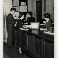 Students in the Birge-Carnegie Library at Victoria College in the 1940s