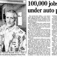 """100,000 jobs lost under auto pact"" (newspaper article)"
