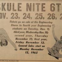Skule Nite 1966 Advertisement