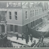 Laying the cornerstone of the Milling Building extension, November 1930<br />