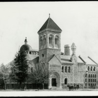 Front view of the University Library on King's College Circle, circa 1900