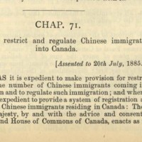 Chinese Immigration Act of 1885