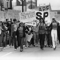 Sex workers and supporters march on Broadway Street to mark the first demonstration against amendments to the Criminal Code in April 1983