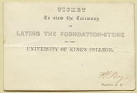 Ticket for the ceremonies for the laying of the cornerstone of King's College, 23 April 1842.