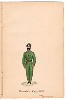 Coloured sketch of The 'Canadian volunteer', K Company, Queen's Own Riffles, 1866