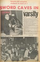 """Varsity front page for March 14, 1972 -  headline reads """"Sword Caves In"""", in reference to students' demands for stack access to Robarts Library."""