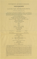 Broadsheet announcing the laying of the cornerstone of King's College ceremonies, 23 April 1842.