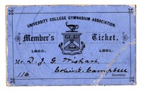 Membership ticket for the University College Gymnasium Association, 1880